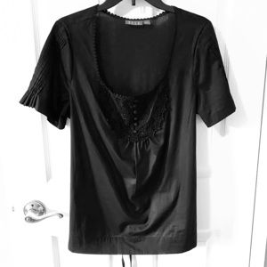 Like New ELLE Black Top - Lace detail front